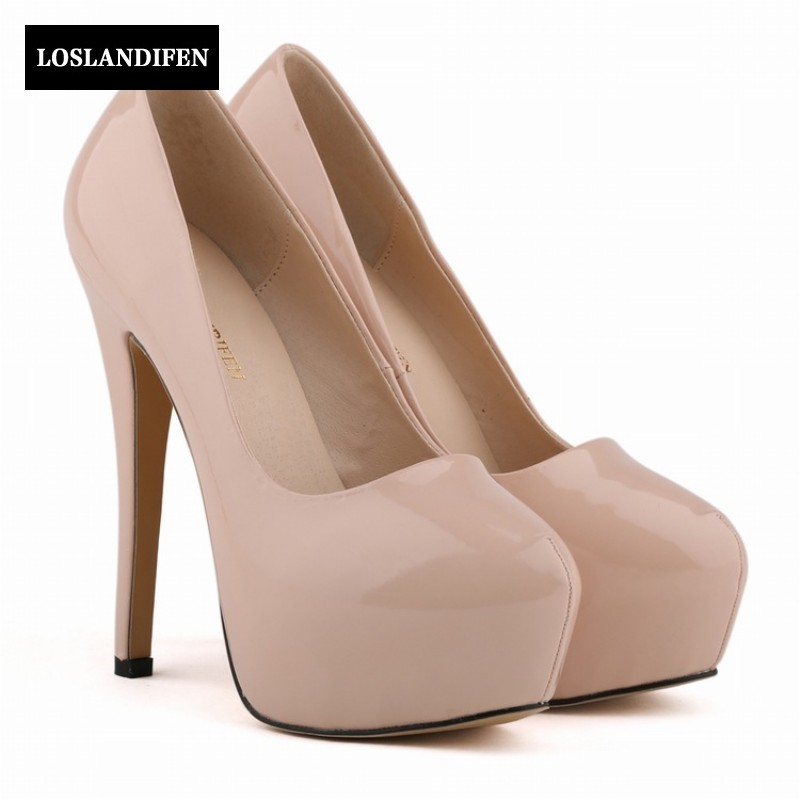 2018 Summer Sweet High Thin Heels Platform Pumps Patent Leather Round Toe Slip On Wedding Shoes Woman Womens Footwear