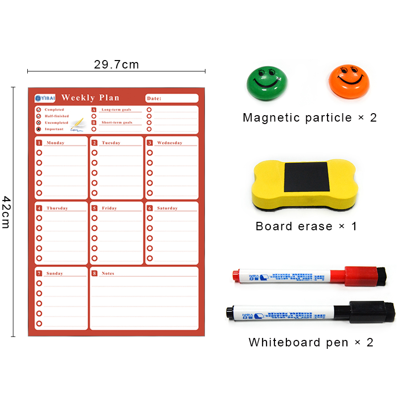 YIBAI Magnetic Board Weekly Schedule Calendar,Drawing/Message/Writing Board Dry Erase For Home Refrigerator 4 Colors Available