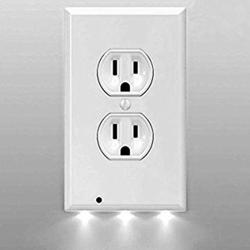 3 LED Intelligent Induction Lamp Wall Socket Cover Shape Emergency Light Sensor Switch Night Light US Plug 120V ...
