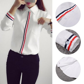 Hot Sale 2019 Spring Summer Women Office Lady Formal Button Down Long Sleeve School Blouse Cotton Soft Casual White Shirt Tops 5
