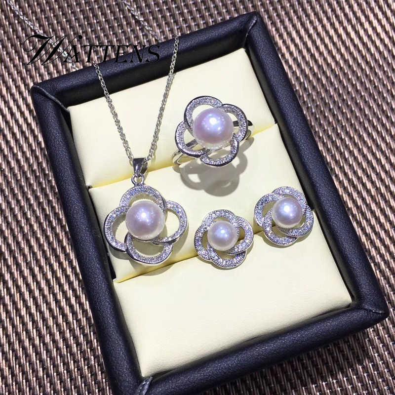 Mutiara Alami Set Mutiara Air Tawar Kalung Cincin Anting-Anting untuk Wanita 925 Sterling Silver Perhiasan Set Pernikahan Pesta Hadiah Kantor