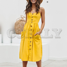CUERLY Elegant button women dress Pocket polka dots yellow cotton midi Summer casual female plus size lady beach vestidos