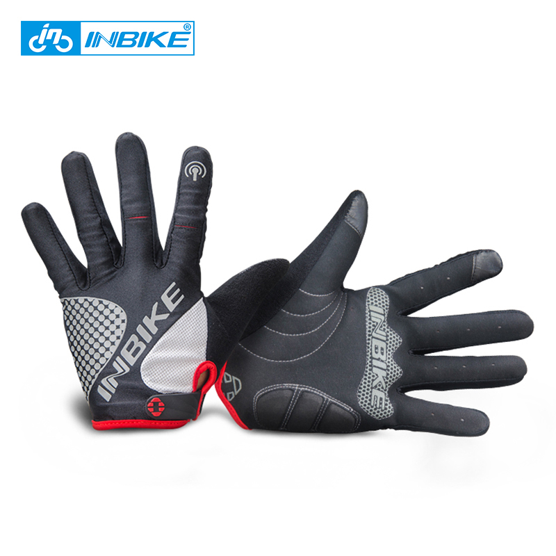 INBIKE Cycling Gloves Touch Screen Bike Sport Hiking Shockproof Gloves For Men Women MTB Road Bicycle Full Finger Phone Glove