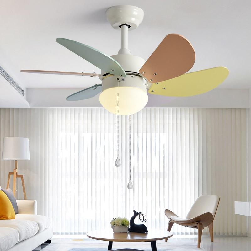 Modern Simple Macaron Ceiling Lamp With Fan Kids Room Bedroom Living Room Wood Fan Leaf Colorful Lamp Deco Pendant Lamp Lights & Lighting