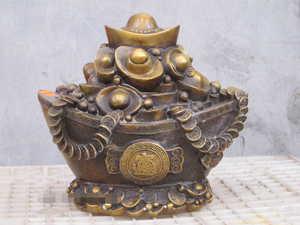 China Brass handwork good luck Bi Coin wealth Money begets money yuanbao Statue|brass square|brass clutch|brass tool -