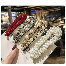 Luxury Pearl Crystal Hair Clips For Women temperament full Reinstone Elegant Barrettes Hairgrips Accessories
