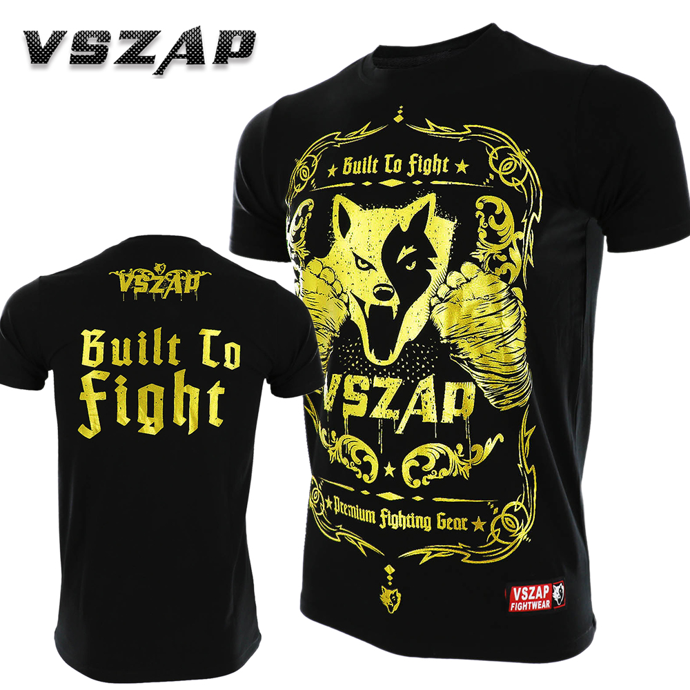 VSZAP Golden Boxing MMA T Shirt Gym Tee Fighting Martial Arts Fitness Training Muay Thai Men Homme