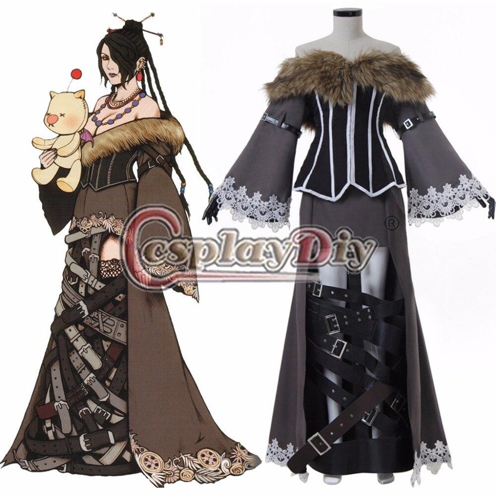 Cosplaydiy jeu Final Fantasy X Cosplay Costume Lulu Cosplay robe pour adulte Halloween tenue sur mesure