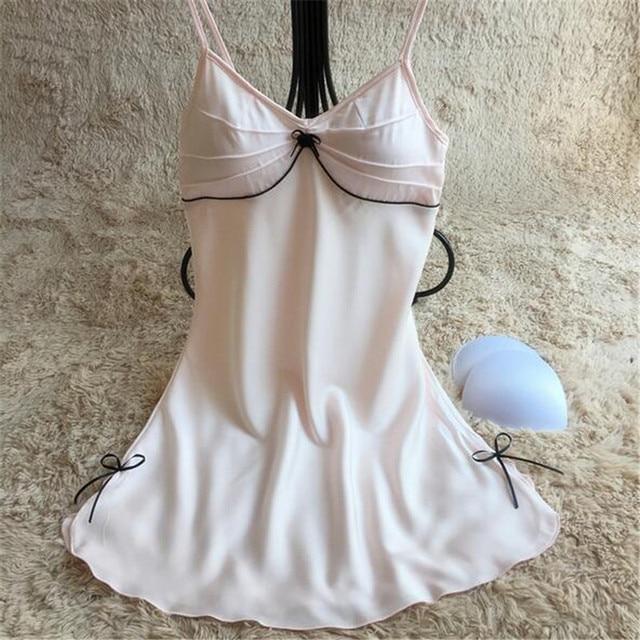 634ec5cbe4 Ladies Sexy Nightdress Silk V-neck Floral Sleepwear Lingerie Babydoll  Nightgown Mini Sleeveless Women Sleepshirt With Padded Bra