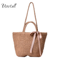 Uoct All Vintage Bow Designer Straw Bag Summer Travelling Causal Beach Tote Bag Rattan Woven Holiday