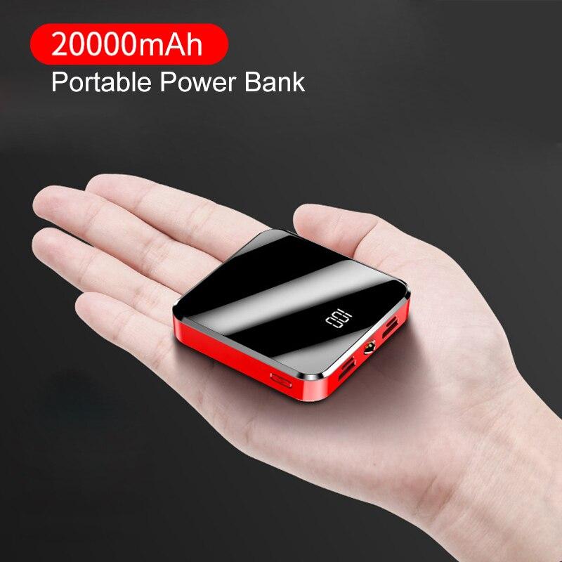 20000mAh Portable Charger Power Bank 20000 mAh Mini PowerBank Mirror Screen External Battery Pack For Smart Mobile Phone