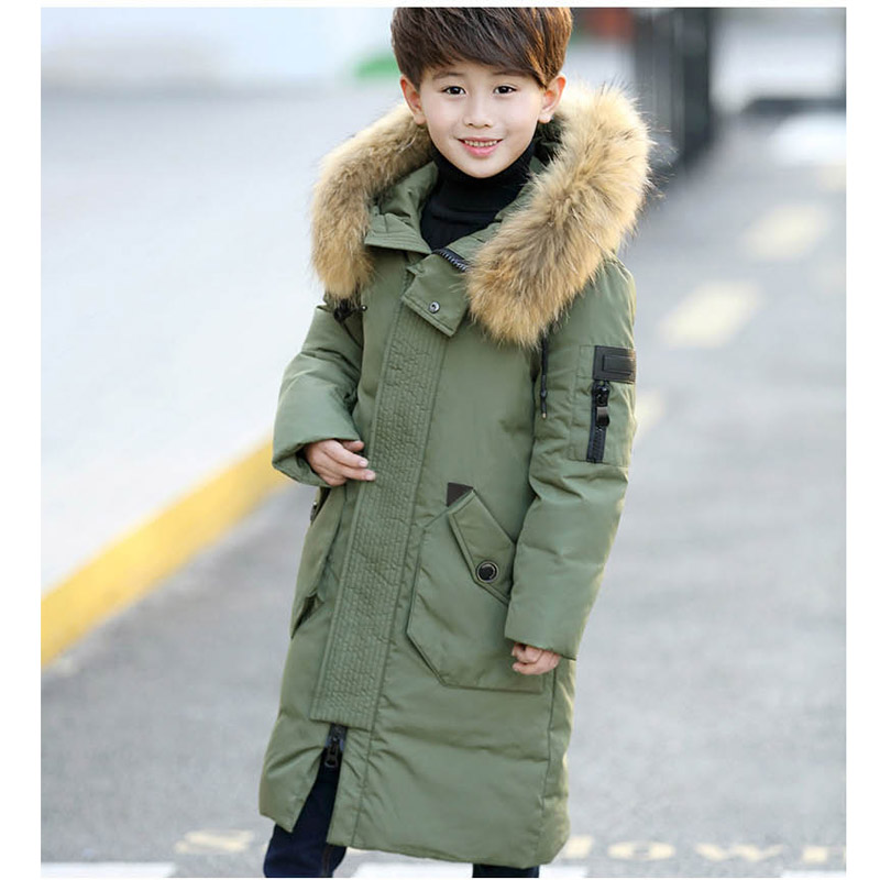 Winter Children Boys X-long Down Jacket Big Child Thickening Coat For Boy Fashion Zipper Hooded Real Fur Outwear 6 8 10 12 14 ерш металлический fbs universal хром uni 114