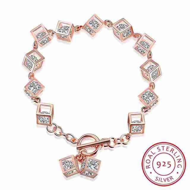 Frete Grátis New Arrival!! verdadeiro 925 Sterling Silver pulseiras Praça pedra pulseras mujer casamento HBH073