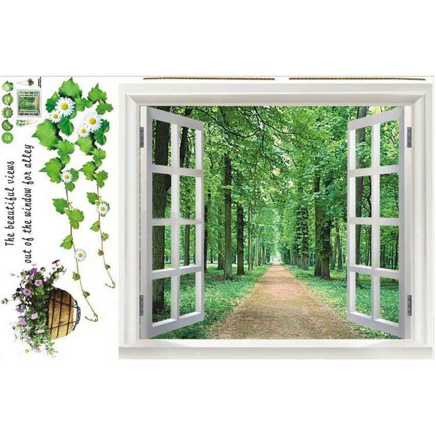 Wall Art For Garden Rooms : Aliexpress buy muursticker diy garden window wall