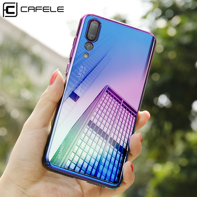 CAFELE Gradient Aurora Case for Huawei P20 Pro lite Hard PC Transparent Ultra Thin Glossy Case for Huawei P20 Light Anti-knock
