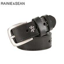 RAINIE SEAN Ladies Genuine Leather Belts Handmade Italian Belt Pin Buckle Women Embroider Luxury Designer Brand Black Jeans