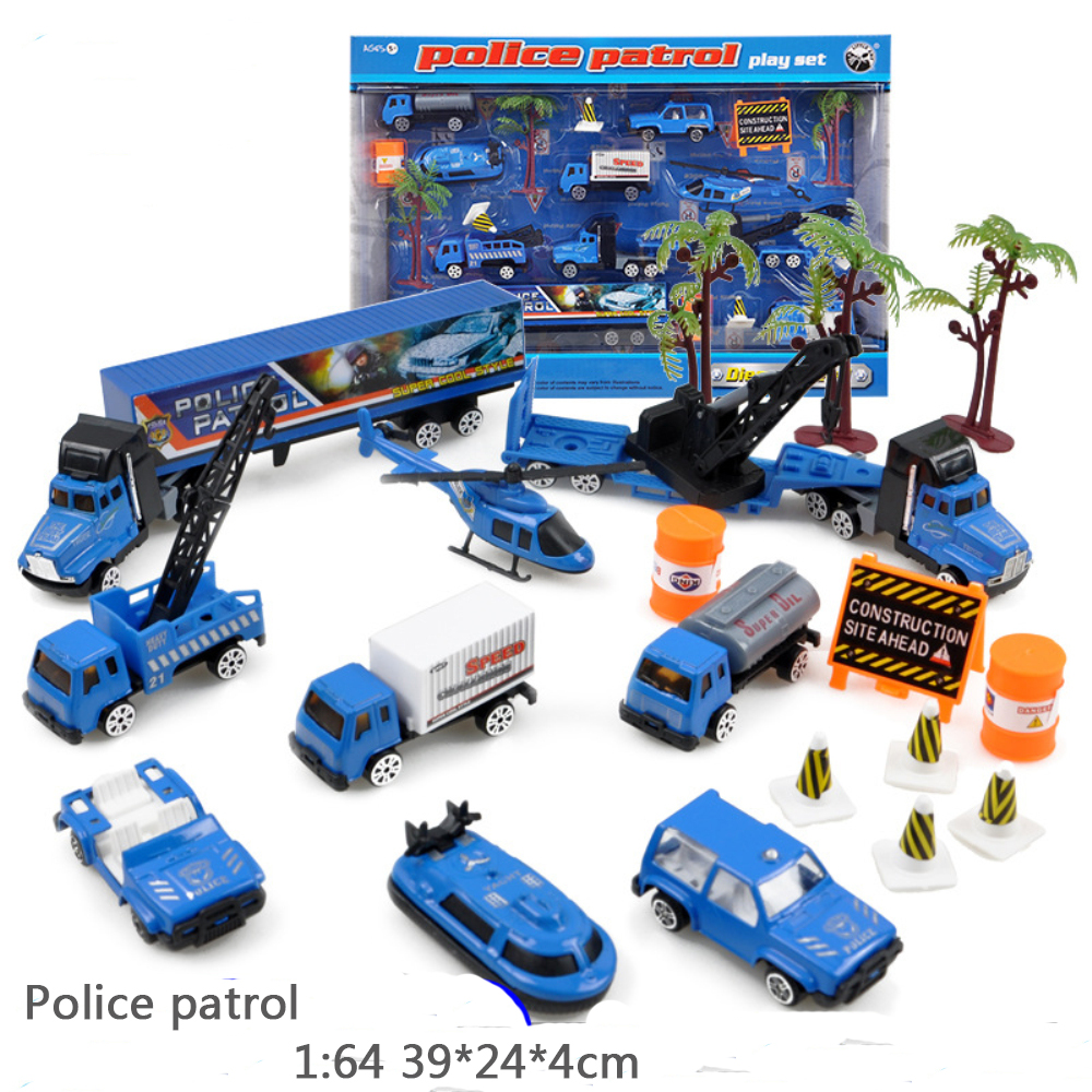 1 64 alloy construction car police truck set combat force mighty rescue Model Classic Toy diecast car play set kids gift in Diecasts Toy Vehicles from Toys Hobbies