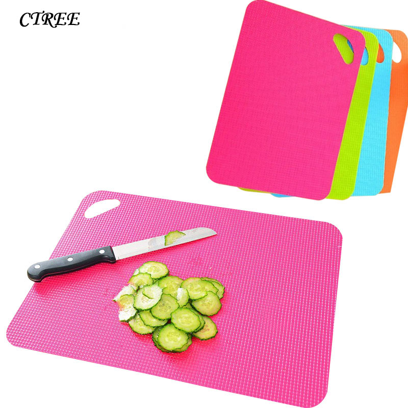CTREE 1 Pcs Plastic Non-slip Rectangle Chopping Block Cutting Board Flexible Mats With Food Icons Kitchen Tools Ultra-thin C145