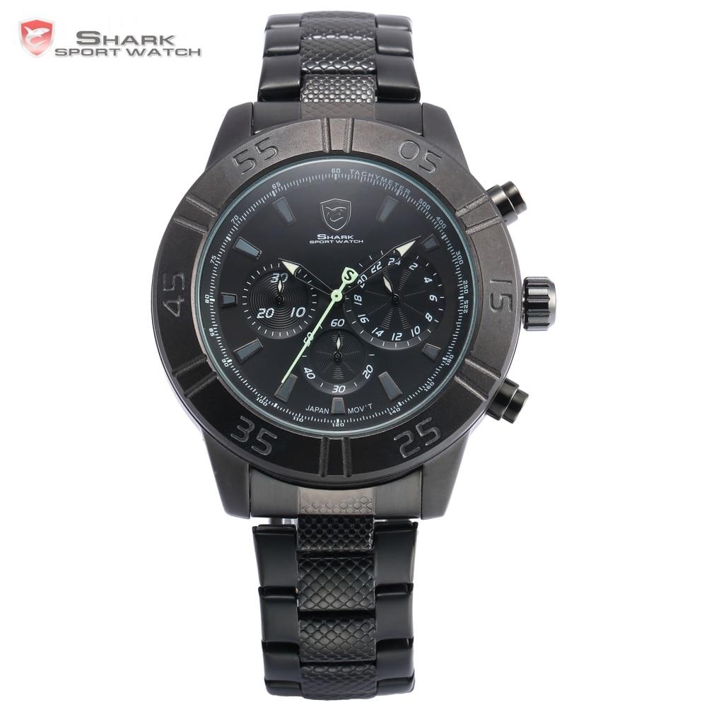 Sandbar Shark Sport Watch Chronograph Black Dial Stainless Steel Clasp Band 3 Dial Quartz Men Outdoor Military Wristwatch /SH302  sh brandmens dial sh035