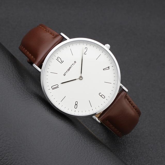 Japan Quartz Classic Women Minimalist Watch Men Arabic Thin Silver White Leather