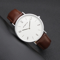 Japan Quartz Classic Women Watch Men Arabic Thin Silver White Leather Mesh Stainless Steel Magnet Strap