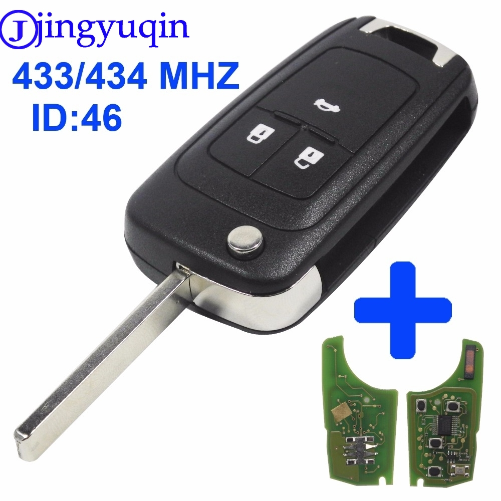 jingyuqin 433MHz With ID46 Chip Flip Folding Key Shell Cover For Chevrolet Cruze Remote Key Fob