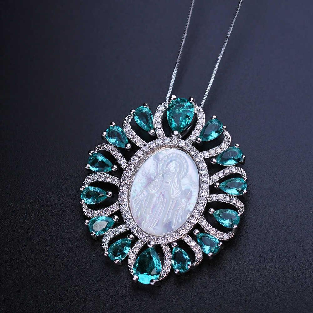 COLLAR COLGANTE de la Virgen de kinprese 3 unids/lote perla Natural de la cáscara de la madre con piedra de cristal para la joyería de moda de la mujer PGY001