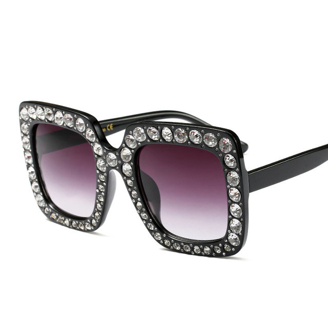 4ff01a72db8 US $12.77  Fashion Women's Square Crystal stones Rivets Sunglasses for Hot  sale Black Designer Big Frame SunGlasses Pink with case LXL-in Sunglasses  ...