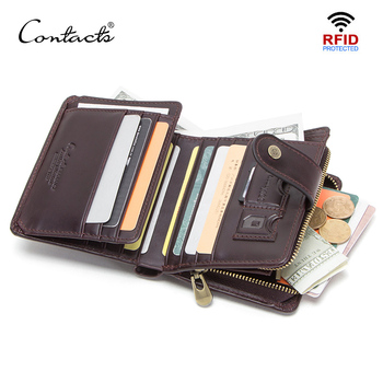 CONTACT'S genuine leather RFID men's wallet short coin purse small hasp walet partmon male short wallets men high quality cuzdan