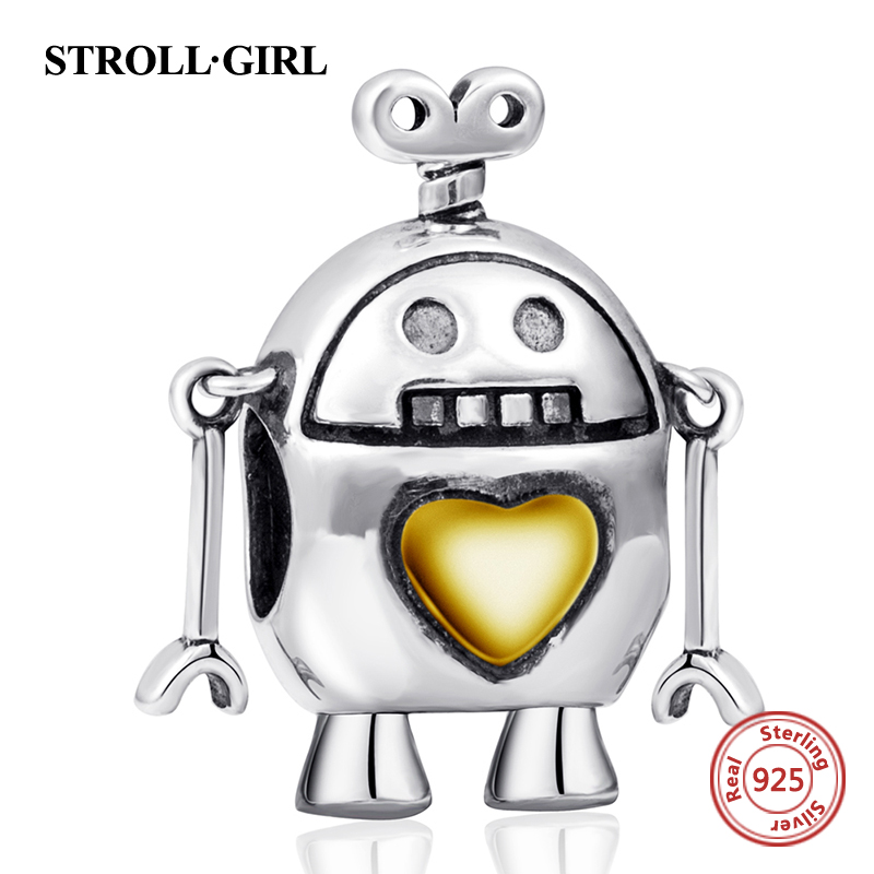 Fit Authentic pandora charm Bracelets Silver 925 Original cute robot with gold love heart beads diy fashion jewelry making gifts