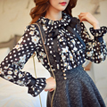 Original 2017 Brand Blusas Spring Ruffled Collar Long Sleeve Plus Size Slim Casual Vintage Black Printed Blouse Women Wholesale