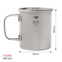 Manufacture New Mode Keith Ti3201 Titanium Cup Outdoor Tableware Camping Watter Glass Travelling Fixed Handle Several