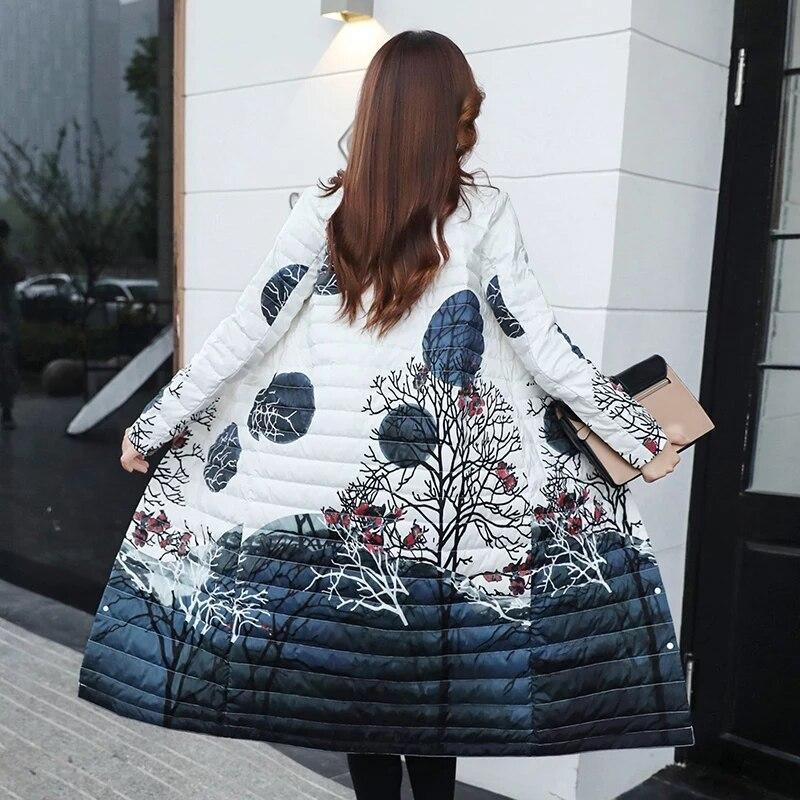Blanco Pato Portátil 90 Print Larga Moda Las Mujeres Black Abajo Abrigos print White Outwear 2019 De Chaqueta Ligero Invierno tEFqwgnB