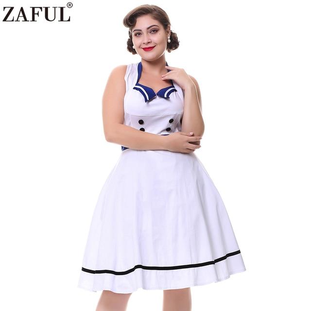 b58749d04 Zaful más tamaño 4xl mujeres 60 s vintage vestido elegante estilo marinero  collar Halter Masajeadores de