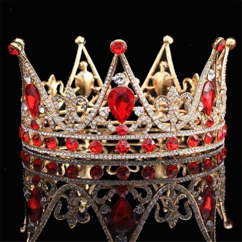 Crystal King Queen Baroque Crown Tiara Bridal Wedding hair jewelry Metal  Headpieces Prom Tiaras and Crowns Bride Diadem 193abe72a0f4