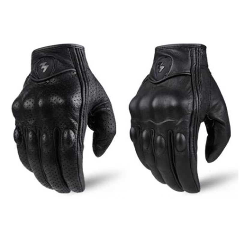 Image 4 - Retro Pursuit Perforated Real Leather Motorcycle Gloves Moto Waterproof Gloves Motorcycle Protective Gears Motocross Gloves gift-in Gloves from Automobiles & Motorcycles