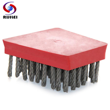 RIJILEI 10PCS/Set Frankfurt Shape Steel Wire Brush Marble Abrasive Brushes Frankfurt Antique Brush Processing Stone Slab YG01