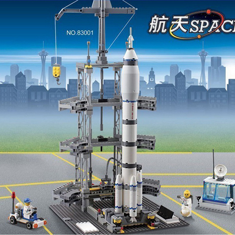 Fun Children's block toys compatible with Legoe space rocket launch station assembly model intelligence building blocks toys