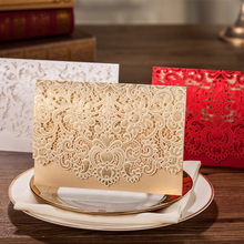 WISHMADE 1pcs Sample Cards Horizontal Laser Cut Wedding Invitations Card White Gold with Lace Flower Cardstock for Bridal Shower