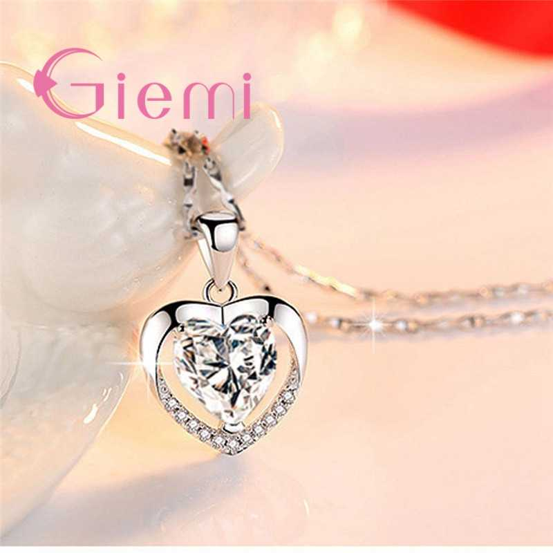 Vogue Charming Heart Design Sparking CZ Stone 925 Sterling Silver Necklace For Woman Girls Exquisite Anniversary Gift