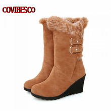 Hot 2013 fashion leather female high wedges heels boots for women winter snow boots black brown yellow black free shipping
