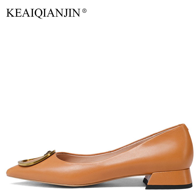 KEAIQIANJIN Woman Sheepskin Loafers Plus Size 33 - 43 Spring Autumn Casual Flats Pointed Toe Black Brown Genuine Leather Shoes keaiqianjin woman genuine leather shoes spring autumn black brown loafers shoes lazy plus size flats genuine leather loafers