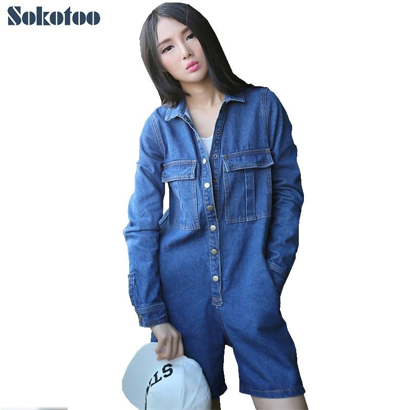 Sokotoo Для женщин случайные свободные Полный рукавом джинсовые комбинезоны больших размеров укороченные джинсы комбинезоны комбинезон комб...