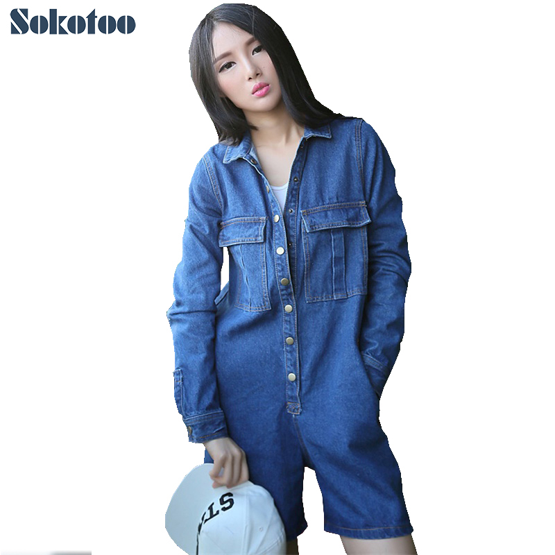 Sokotoo Women's casual loose full sleeve denim overalls Large size short jeans Jumpsuits Rompers