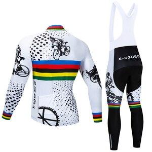 Image 2 - 2020 Hot X CQREG Long Sleeve Winter Thermal Fleece Cycling Jersey Set  Bike Bib Pants  Bicycle  Clothes