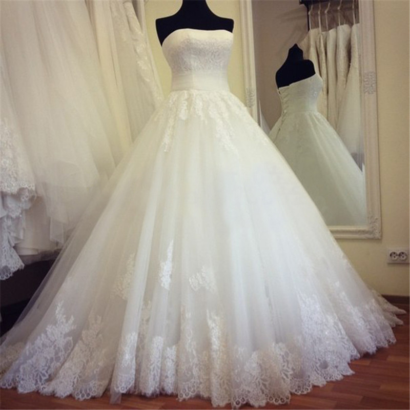 Real Made New Strapless Appliques A Line Wedding Dresses 2020 Lace
