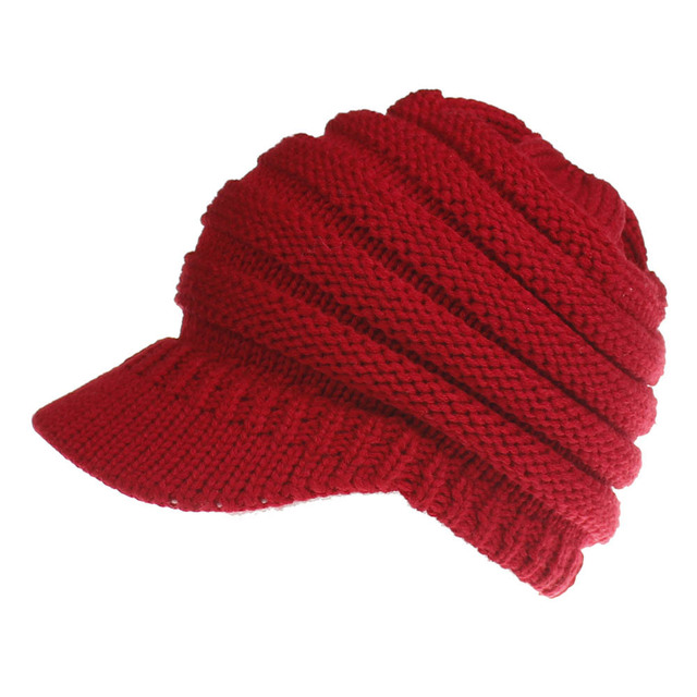 Ponytail Winter Warm Knit Thicken Wool Snow Ski Caps
