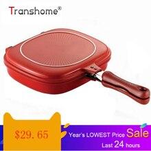 Transhome Сковорода 28 см двухсторонняя Сковорода-гриль кухонная посуда из нержавеющей стали стальная двойная сковорода для лица стейк яйца сковорода кухонные аксессуары