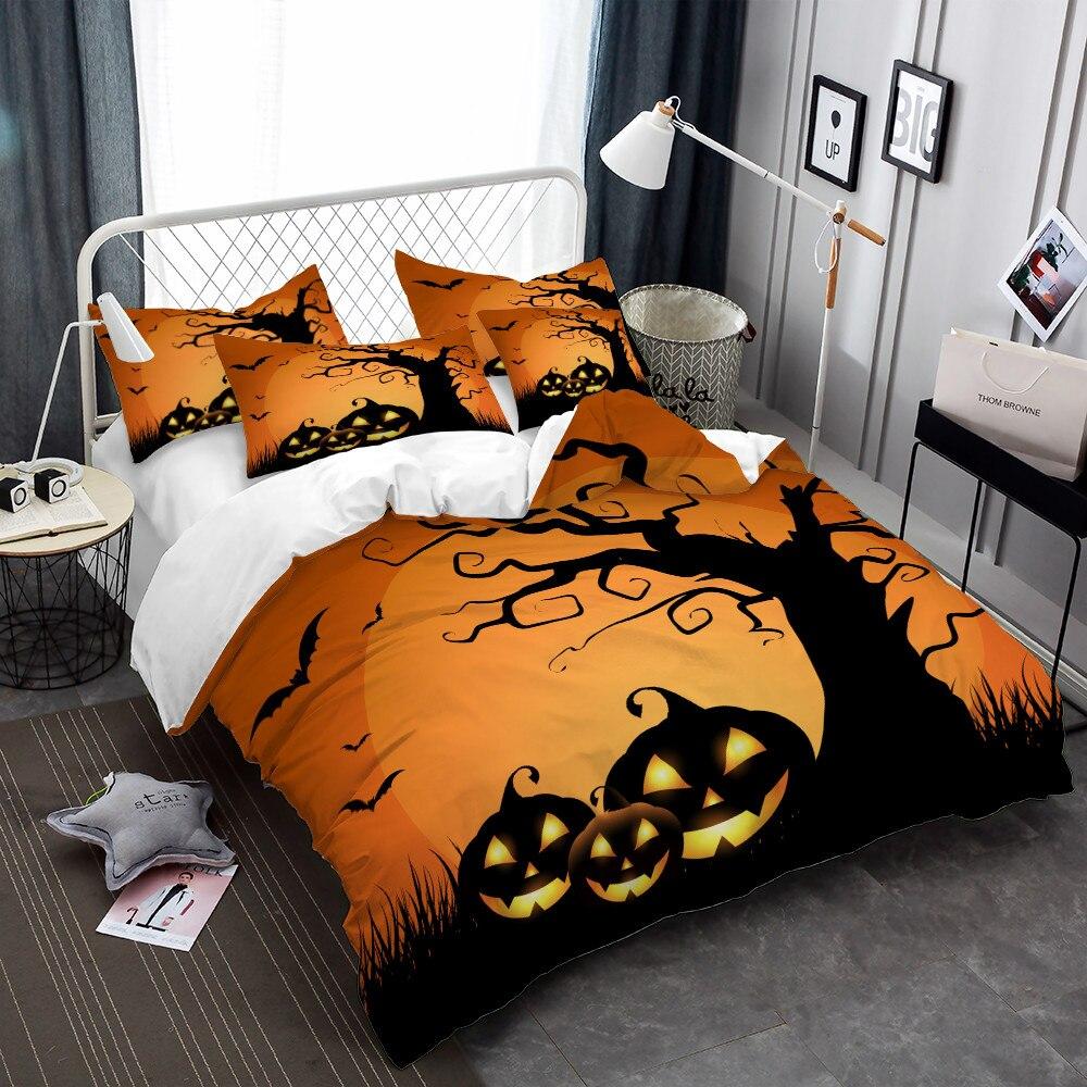 Enfants bande dessinée ensemble de literie Halloween citrouille arbre imprimer housse de couette ensemble Orange couverture de lit jour des morts literie décor à la maison D30