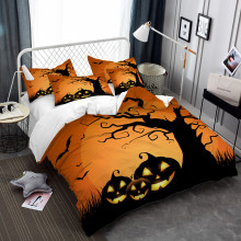 цены Kids Cartoon Bedding Set Halloween Pumpkin Tree Print Duvet Cover Set Orange Bed Cover Day of the Dead Bedclothes Home Decor D30